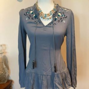 Dusty blue boho top
